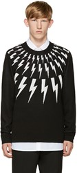 Neil Barrett Black And White Thunderbolt Sweater