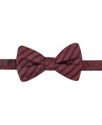 Countess Mara Men's Reversible Vine And Stripe To Tie Bow Tie Red