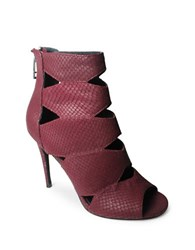 Charles By Charles David Reform Leather Cutout High Heeled Booties Burgundy