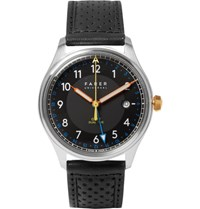 Farer Carter Stainless Steel And Leather Watch Black