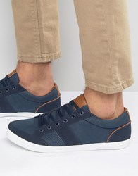 Pull And Bear Pullandbear Plimsoll Trainers In Navy Navy