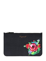 Dsquared Gipsy Flower Print Coated Canvas Pouch Black