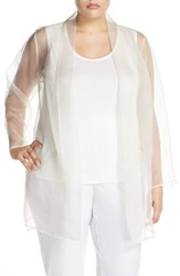 Plus Size Women's Eileen Fisher Long Silk Organza Kimono Jacket