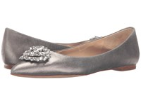 Badgley Mischka Davis Ii Pewter Metallic Suede Women's Dress Flat Shoes