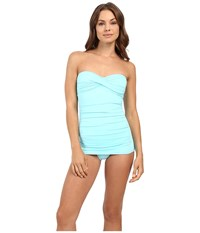 Tommy Bahama Pearl Twist Front Bandeau One Piece Swimming Pool Blue Women's Swimsuits One Piece
