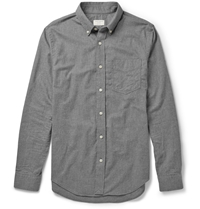 Club Monaco Slim Fit Cotton Flannel Shirt Gray