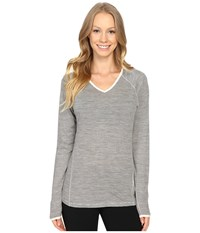 Smartwool Nts Micro 150 Pattern Hoodie Silver Gray Heather Women's Long Sleeve Pullover