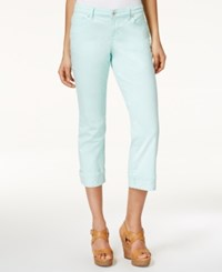 Styleandco. Style And Co. Petite Curvy Fit Rhinestone Hem Capri Jeans Only At Macy's Mystic Aqua