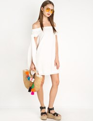 Pixie Market White Long Side Ties Off The Shoulder Dress