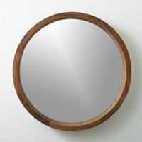 Cb2 Acacia Wood 24'' Wall Mirror