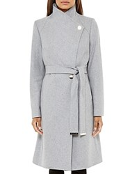 Ted Baker Aurore Long Wrap Coat Gray Marl