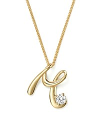 Bloomingdale's Diamond Initial Pendant Necklace In 18K Yellow Gold 18