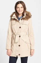 Belted Trench Coat With Detachable Faux Fur Trim Hood And Liner Online Only Khaki
