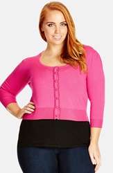 City Chic 'So Sweet' Crop Cardigan Plus Size Hot Pink