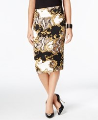 Thalia Sodi Thali Printed Pencil Skirt Only At Macy's Beige Combo