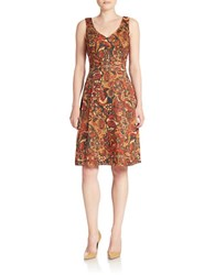 Anne Klein Paisley Print Fit And Flare Dress Apple Cinnamon