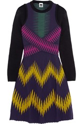 M Missoni Printed Ribbed Jersey Mini Dress Purple