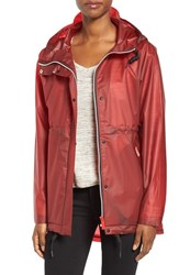 Hunter Women's 'Original Smock' Hooded Drawstring Waterproof Jacket Military Red