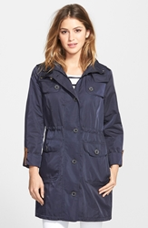 Roll Sleeve Hooded Anorak Regular And Petite Navy