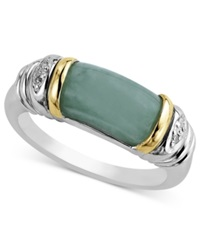 Macy's 14K Gold And Sterling Silver Ring Jade And Diamond Accent Barrel Ring