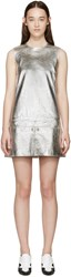 Courreges Silver Metallic Leather Mini Dress