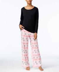 Charter Club Fleece Scoop Neck Top And Printed Pants Pajama Set Only At Macy's Black Holiday Fairisle