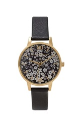 Topshop Olivia Burton Monochrome Ditsy Floral Black And Gold Watch