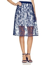 Finity Floral Print A Line Skirt Blue And White
