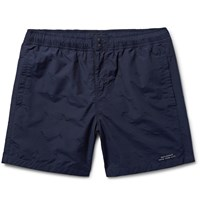 Saturdays Surf Nyc Trent Schiffli Mid Length Embroidered Swim Shorts Blue