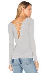 Chaser Strappy Double V Raglan Tee Gray