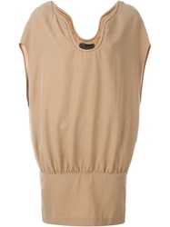 Jay Ahr Batwing Sleeve Mini Dress Nude And Neutrals