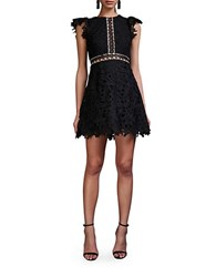 Cynthia Rowley Wild Flower Lace Empire Waist A Line Dress Black