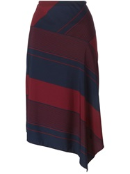 Tory Burch Diagonal Stripes Bias Cut Skirt Blue