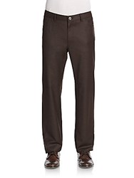 Brioni Virgin Wool Brown Flannel Trousers Cocoa