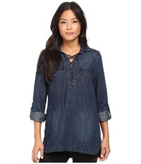 Blank Nyc Denim Lace Up Shirt In Hangover Helper Blue Women's Clothing