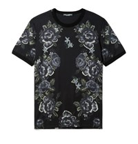 Dolce And Gabbana Slim Fit Printed Cotton Jersey T Shirt Black
