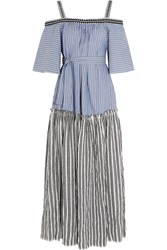 Lemlem Amara Embroidered Striped Cotton Maxi Dress Blue
