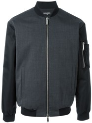 Dsquared2 Contrast Sleeve Bomber Jacket Grey