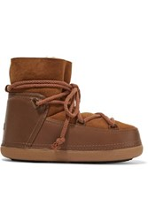 Inuikii Shearling Lined Leather And Suede Boots Brown