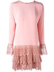 Ermanno Scervino Lace Hem Dress Pink And Purple