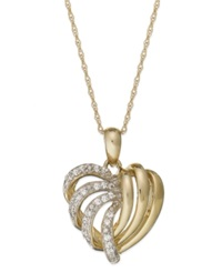 Wrapped In Love 14K Gold Diamond Heart Pendant Necklace 1 6 Ct. T.W.