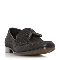 Dune Rockwell Reptile Effect Leather Loafers Black
