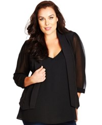 City Chic Plus Size Sheer Sleeve Cropped Blazer Black