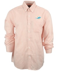 Cutter And Buck Men's Miami Dolphins Tattersall Dress Shirt White Orange