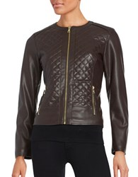 Cole Haan Signature Quilted Faux Leather Jacket Espresso