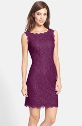 Adrianna Papell Women's Boatneck Lace Sheath Dress Mulberry