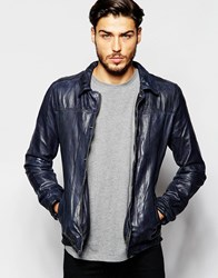 Scotch And Soda Classic Leather Jacket Blue