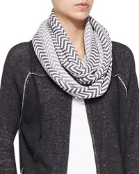 Eileen Fisher Chevron Jacquard Infinity Scarf Ash Soft White