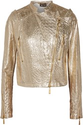 Just Cavalli Metallic Snake Effect And Perforated Leather Jacket