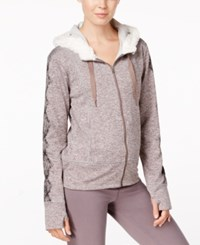 Gaiam Aurora Faux Sherpa Lined Fleece Hoodie Steel Grey